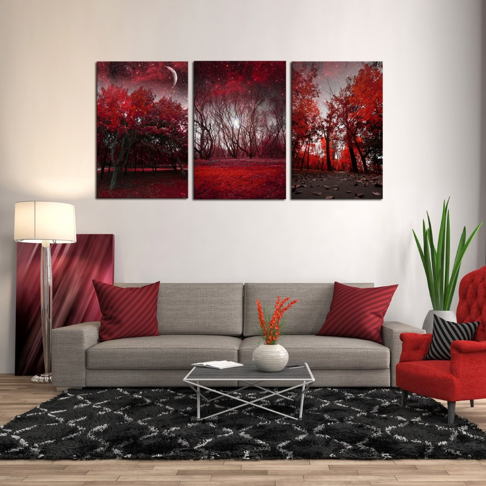 Canvas Prints 3 Panels Framed Wall Art Red Trees Paintings ...