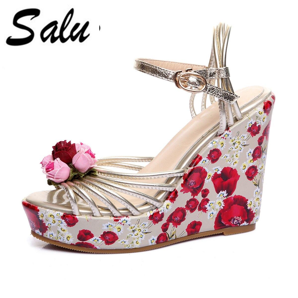 Salu 2018 new Women Sandals summer Wedge High Heel Platform Women Shoes  Slingback Genuine Leather Ladies Wedding Shoes 6e36f5b48d54