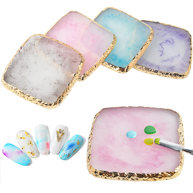 1Pc Natural Resin Stone Nail Art Color Palette Acrylic Gel Polish Holder Drawing Color Paint Dish Color Display Palette Tool P03