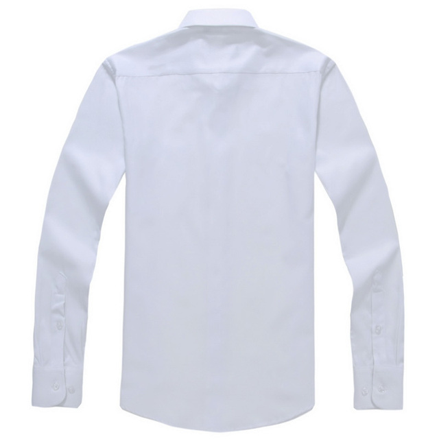 Men's Regular-fit Long Sleeve White Basic Dress Shirt Plus Size 5XL Formal Business Solid Twill Tops Shirts for Work Office Wear 5