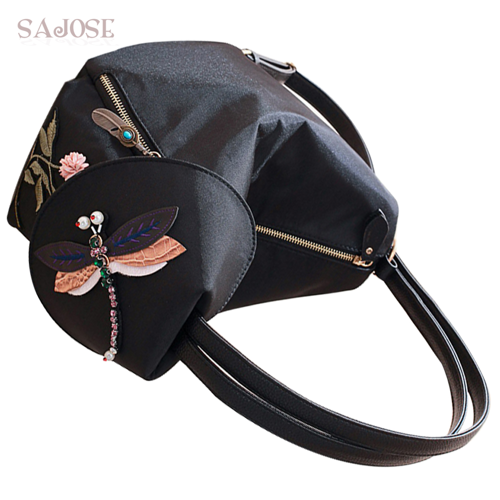 Woman Shoulder Bag Multifunctional Lady Oxford Fashion Brand Backpack School Bags For Girls Dragonfly Embroidery Flowers Sajose
