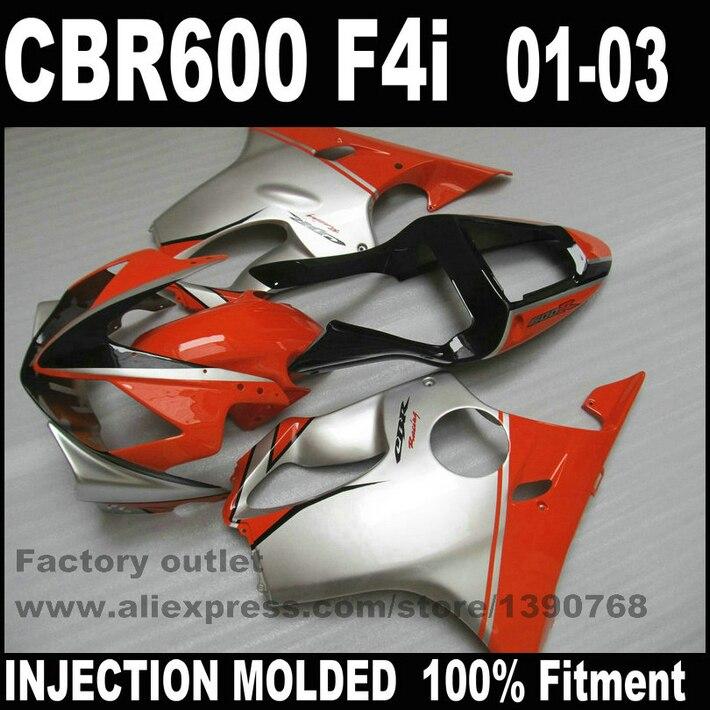 все цены на INJECTION MOLDED full fairing kit for HONDA CBR 600 F4i 2001 2002 2003 black red silver fairings set CBR600 01 02 03 TD63 онлайн