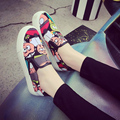 Весна улица граффити холст обувь женские толстой подошве сдобы обувь loafer случайные одиночные обувь женская ленивый студентов ступил