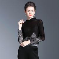 7ec5725f77 2019 Tide Print Thin Bottoming Shirt Female Long Sleeved High Collar Color  Versatile Pleated Shirt Fashion