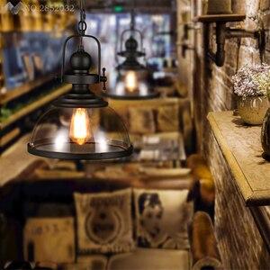 Image 5 - Amerikanischen Loft Retro Industrielle Anhänger Lichter Glas Hängen Lampe für Wohnzimmer Restaurant Bar Hause Beleuchtung Küche Leuchten Deco