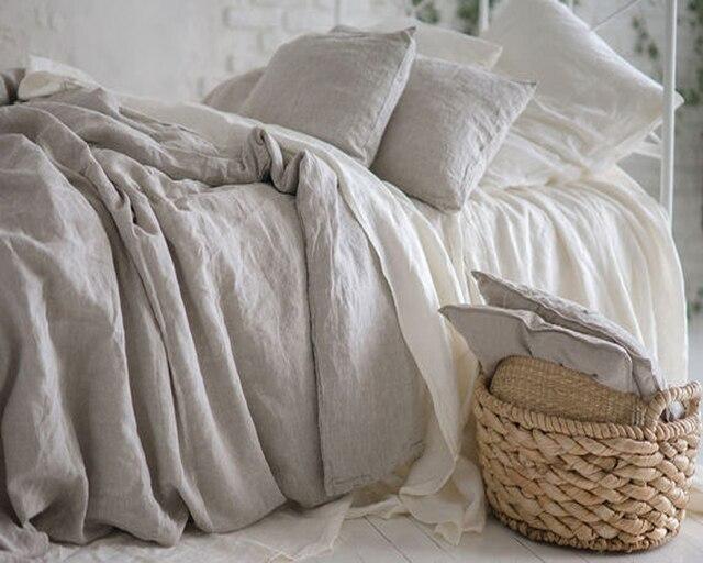 linge de lit en lin français 100% Natural Pure Washed Linen Duvet cover French Bed Linen Duvet  linge de lit en lin français