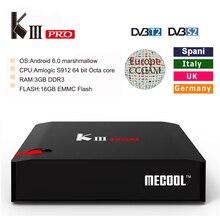 Европа CCcam сервер для 1 год kiii Pro Android 6.0 TV Box Amlogic S912 Восьмиядерный DVB-T2 DVB-S2 3 ГБ /16 ГБ Wi-Fi BT4.0 4 К Smart TV