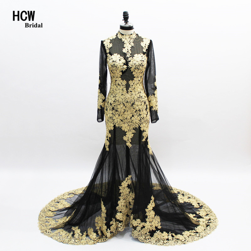 Black Mermaid Evening Dress With Gold Lace 2019 Sexy Illusion See Through Special Occasion Dresses Long Sleeve Evening Gowns