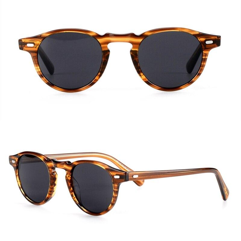 Высокого качества видения ацетат материал винтажные Круглые Солнцезащитные очки ov5186 Грегори Пек Мужчины Женщины поляризованные sunlens 100% UV400...