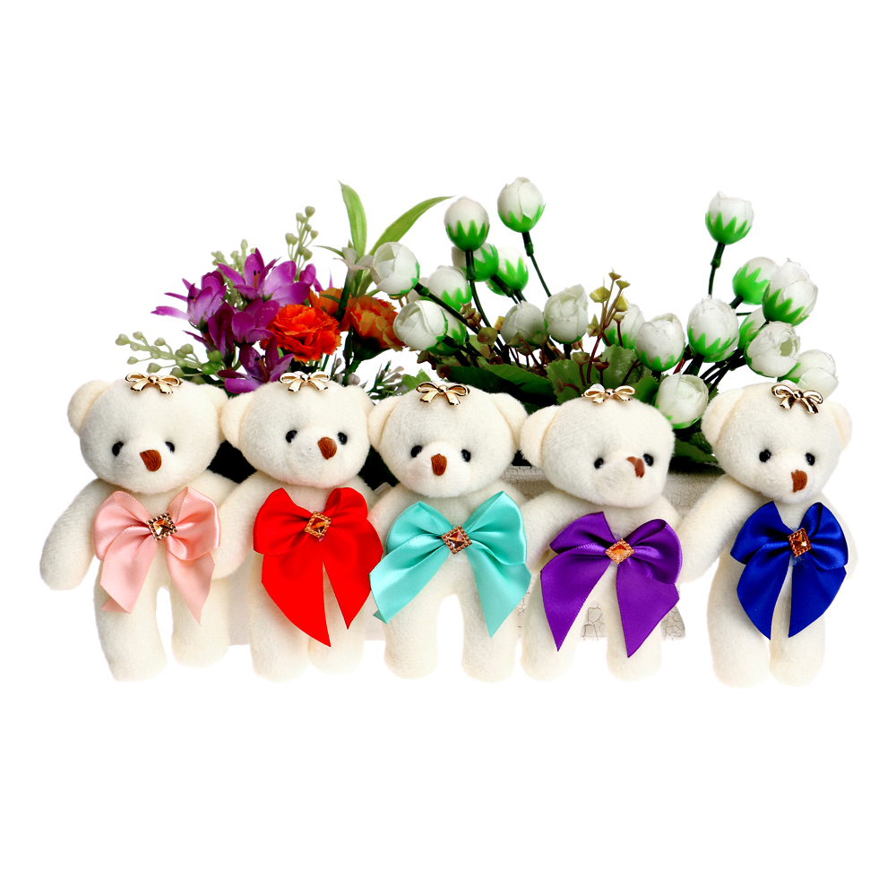 50PCS LOT Mini Design Baby Girl Teddy Bear Cute Bow Diamonds Flower Bouquets Accessory Plush Toys