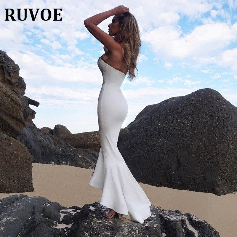 Sexy bretelles cheville-longueur longue bandage robe femmes Skinny robe de sirène été maxi robe robe de soirée pour blanc fête A-60