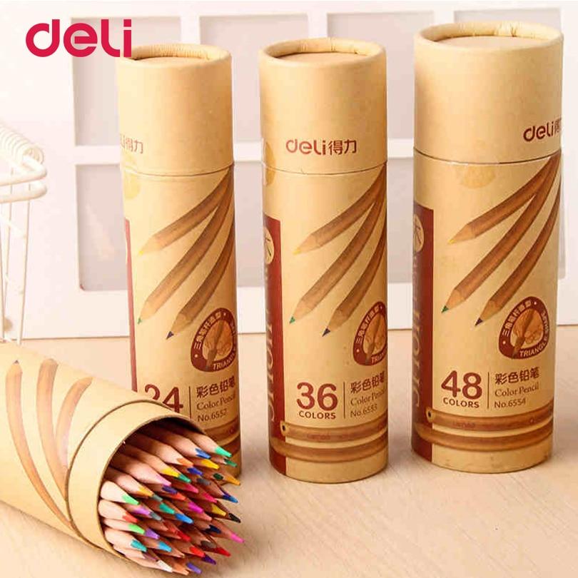 Набор цветных карандашей Deli 2018 канцелярские принадлежности для школы цветные