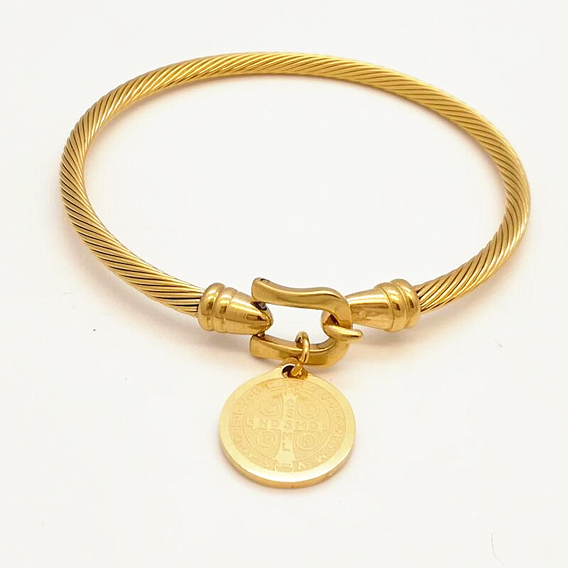Hot Sale Gold Color Stainless Steel Simple Round Cross and Madonna Tag Charm Bangle Bracelet for Women Fashion Jewelry Wholesale