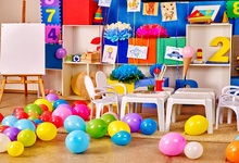 Laeacco Baby Room Painting Balloons Flower Desk Chair Photography Backgrounds Customized Photographic Backdrops For Photo Studio
