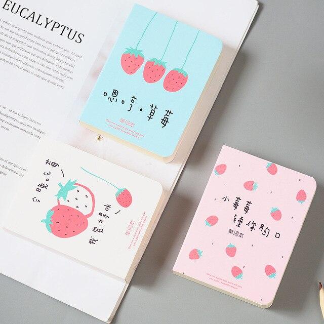 1x Cute Kawaii Strawberry Vocabulary Notebook Recite Words Learn