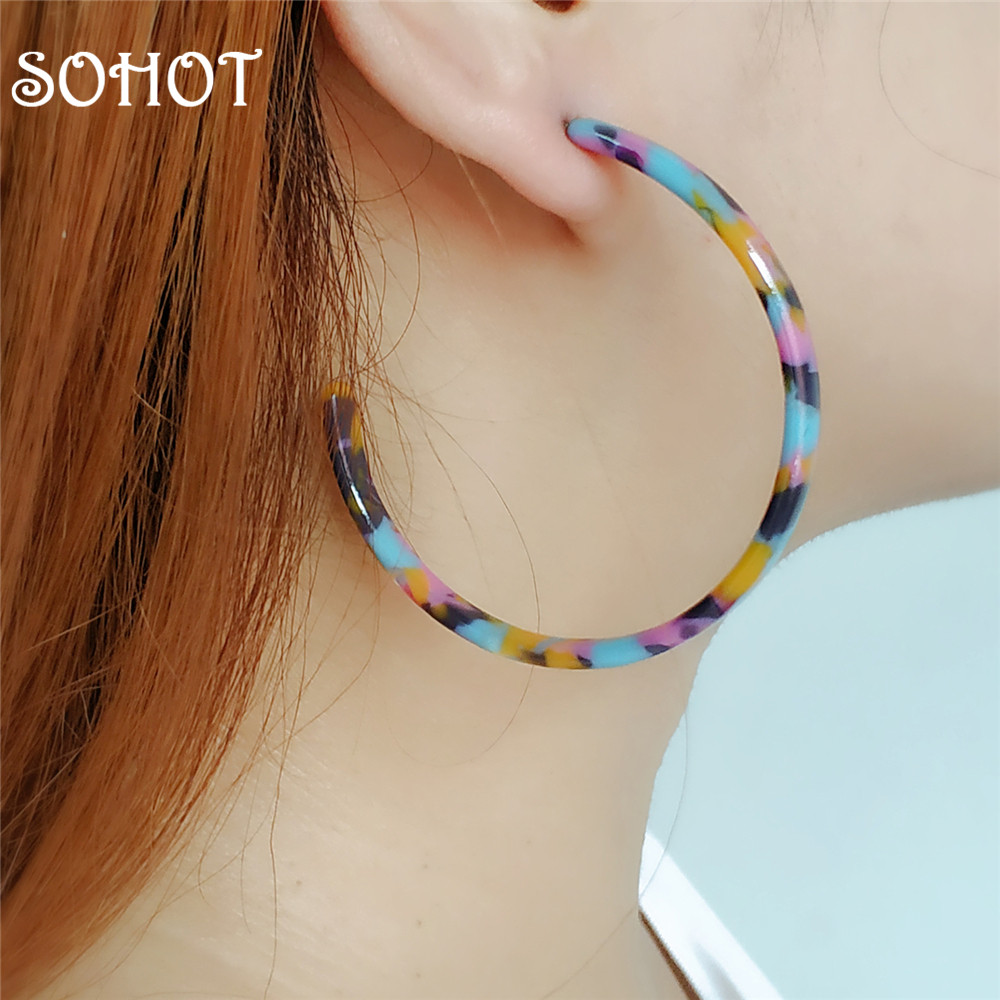 SOHOT 2018 Ethnic Style 5CM Big Circle Hoop Earrings Acetic Acid Colorful Women Acrylic Bijoux Accessories For Summer Beach Gift