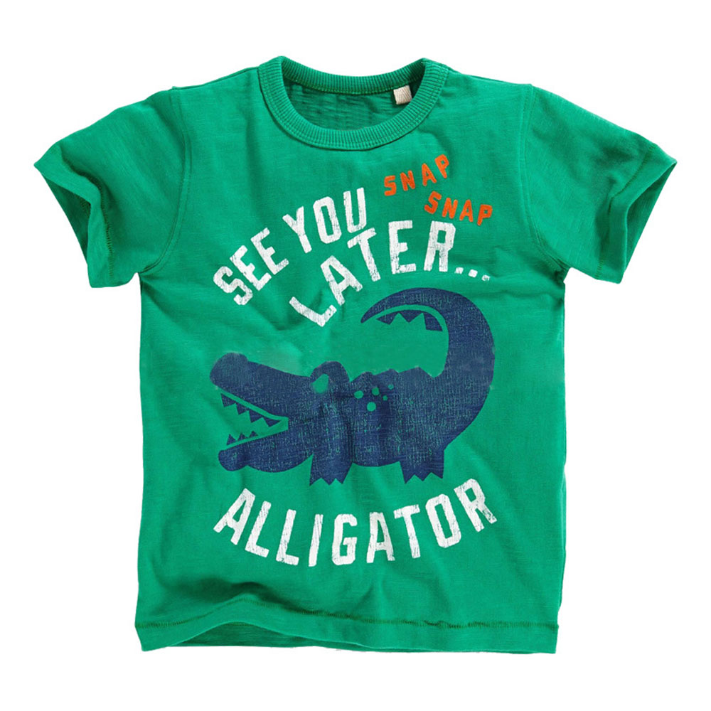 Verano Niño Chico Manga Corta Camiseta de Estilo Europeo Verde Tiburón Animales algodón Bebé camiseta Infantil Niño Traje de Niño Chico de La Camiseta