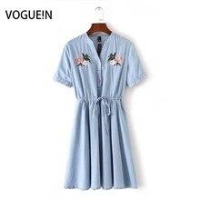 Voguein новые женские светло-голубой цветочной вышивкой короткий рукав джинсовое платье мини Размеры SML оптовая продажа