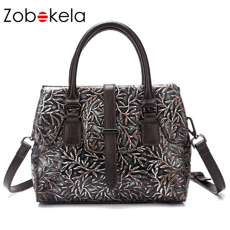 Zobokela Famous Brand Genuine leather bag Luxury handbags women bag designer High quality Ladies Shoulder Messenger Bag Handbag
