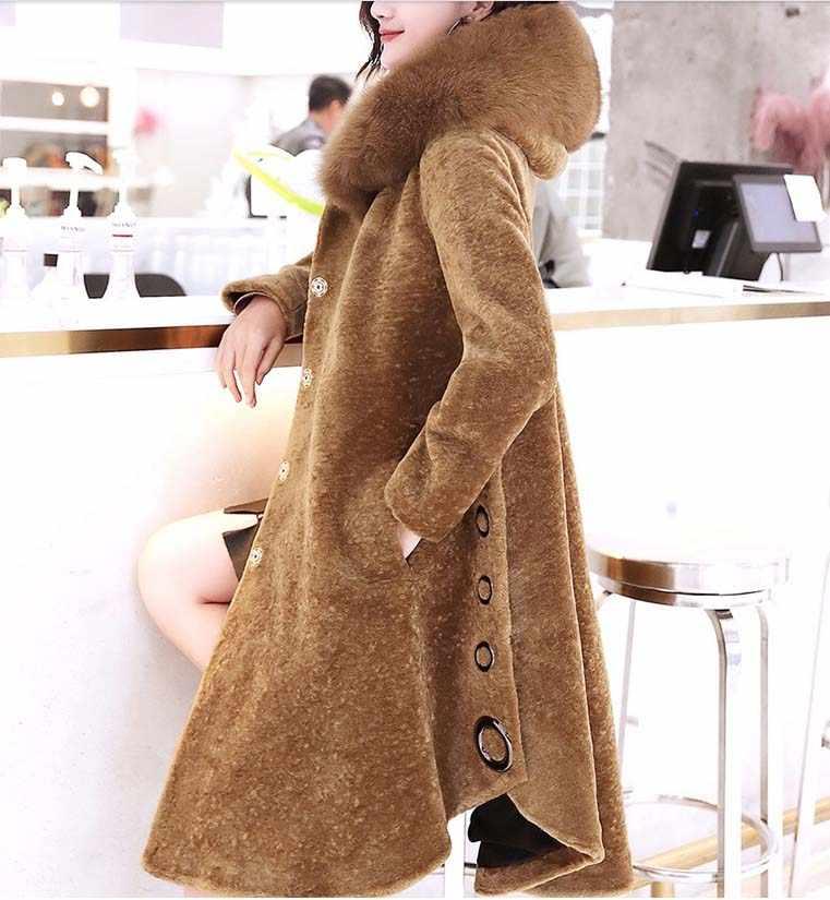 2018 luxus frauen winter fashion echtes wolle mantel mit großen fuchs pelz haube weibliche damen high-end-kleidung kamel schwarz xxl