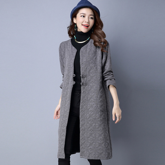 Women Autumn Spring Jacket Fashion Blue Red Grey Pure Color Jacket Coat Femme New Casual Large Size Quilted Tops