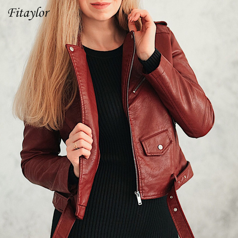 Fitaylor 2019 Spring Autumn Women Faux Soft Leather Jacket Long Sleeve Pink Biker Coat Zipper Design Motorcycle PU Red Jacket