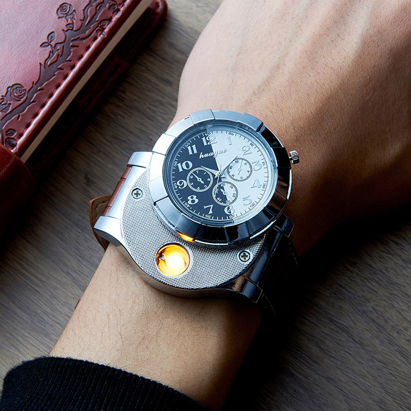 Fashion Watches men with USB Electronic Rechargeable Windproof Flameless Cigarette Lighter Men's wrist watches relogio Masculino dfl 3x6 inch flameless real wax pillar electronic led candle with timer with embossed gold pearl