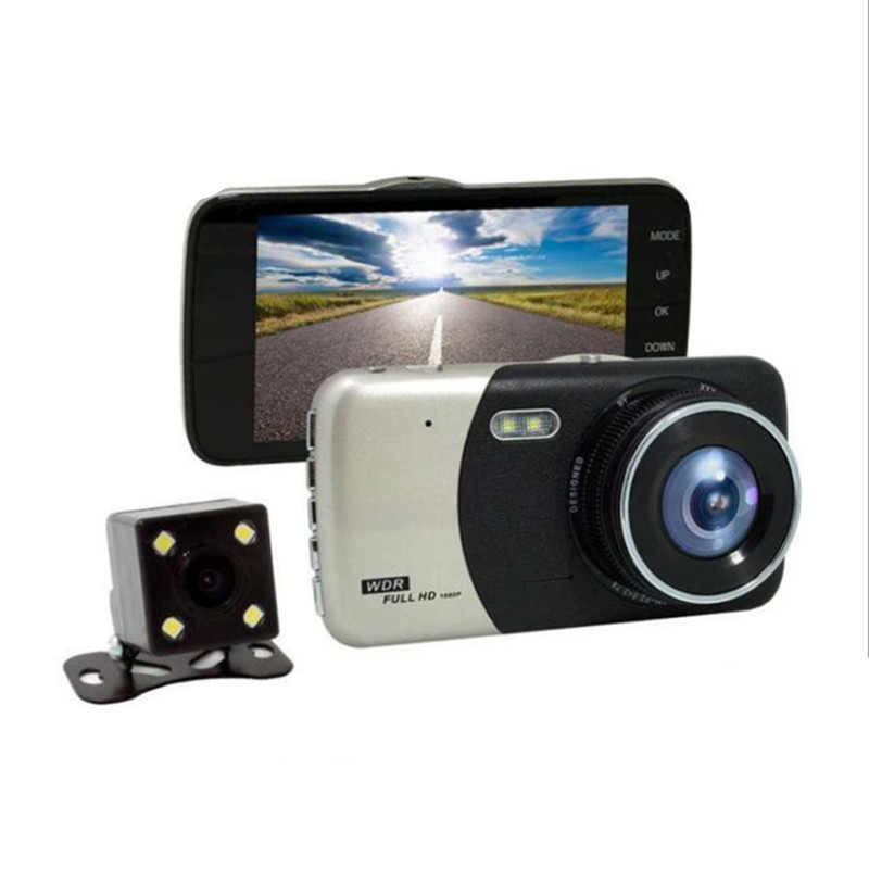 Car DVR 4 Inch IPS Screen Auto Camera Dual Lens FHD 1080P Dash Cam Video Recorder Night  ...