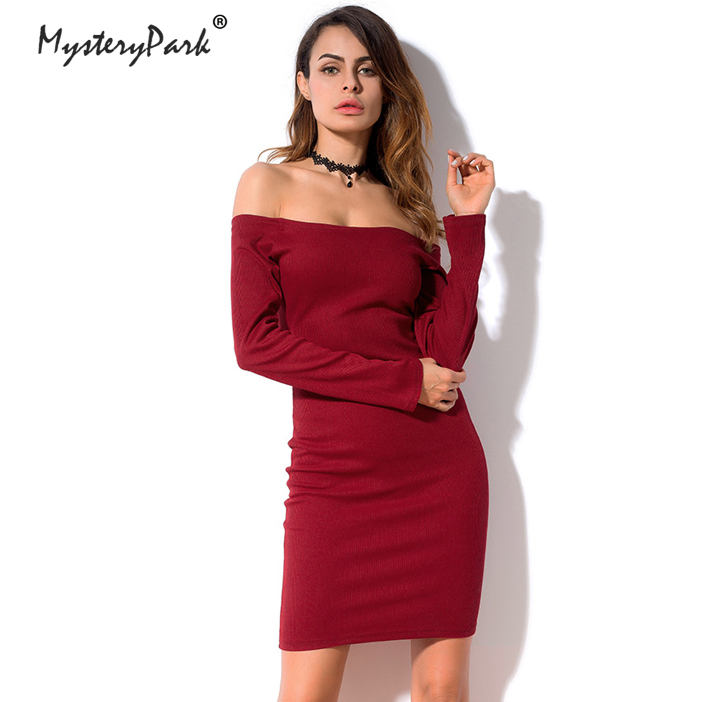 MysteryPark Fashion Long Sleeve Off Shoulder Sexy Club Women Dress Slim Bodycon Knitted Sweater Party Night Dresses