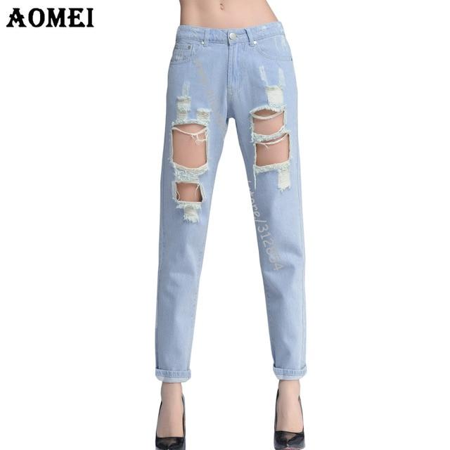 3b09d7876 Mulheres Calças jeans Rasgado buracos do vintage azul branco 2019 calças  jeans Femininas vestidos Europeia Moda