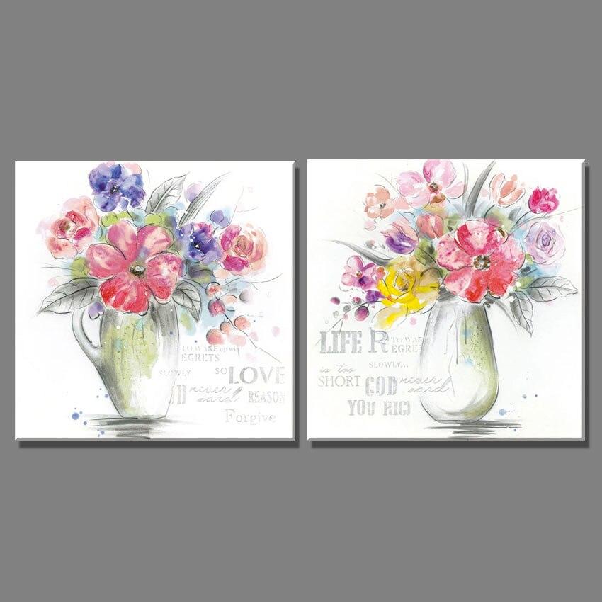 2 Piece Sketsa Warna Warni Bunga Yang Indah Dan Vas Minyak Lukisan