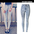 High quality Fashion Women Jeans pants Europe and United States Popular pencil pants elastic jeans snowflakes tie-dye feet pants