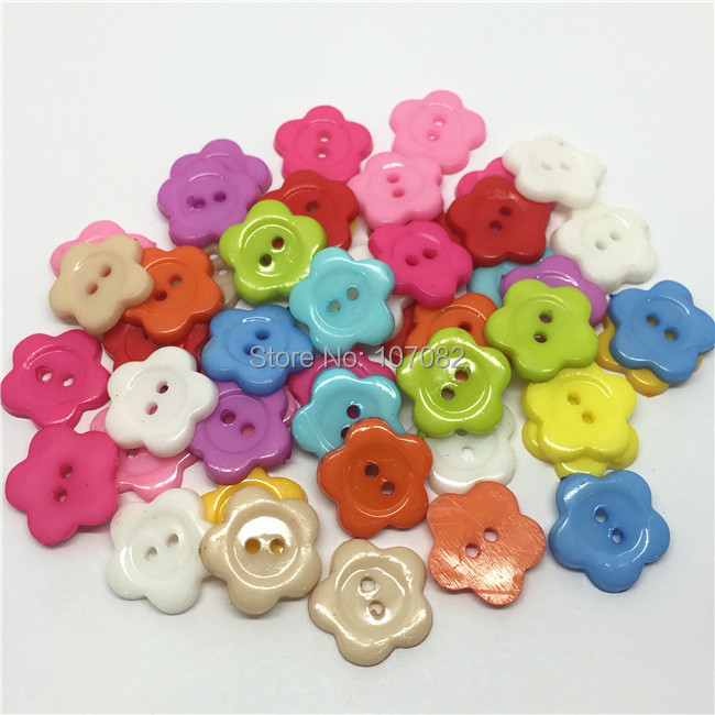 200pcs/lot 14mm Mixed Flower 2-hole Buttons Plastic Sewing Accessories Shirt Button Cardmaking Embellishments