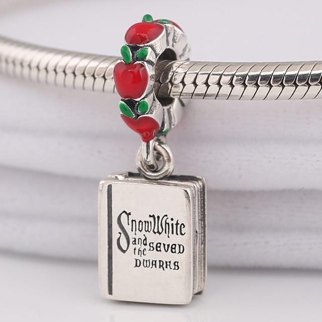 165c78214 925 Sterling Silver Snow White The Seven Dwarfs Book Dangle Charm Mixed  Enamel Original Jewelry Fits