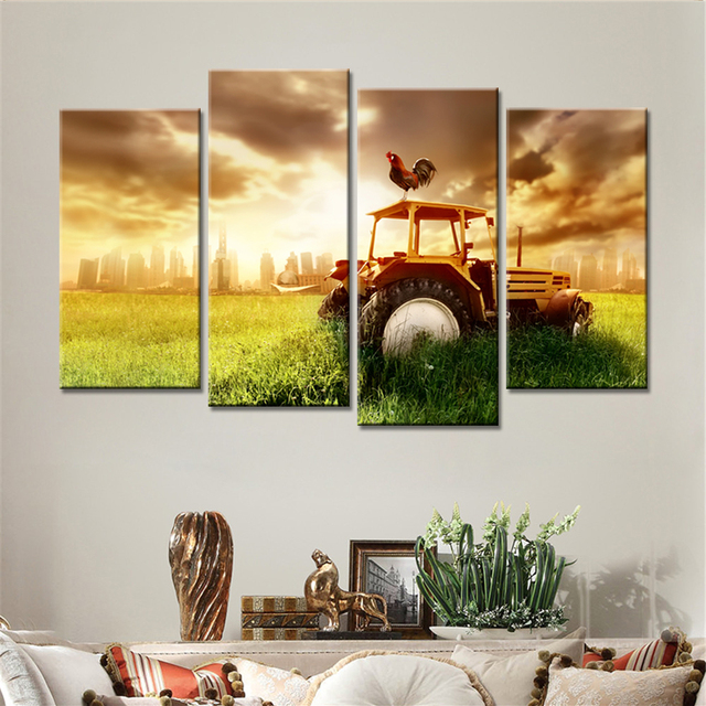 4 Pieces Drop Shipping Sunshine Harvester Golden Clouds Home Decor Wall  Canvas Painting For Living Room