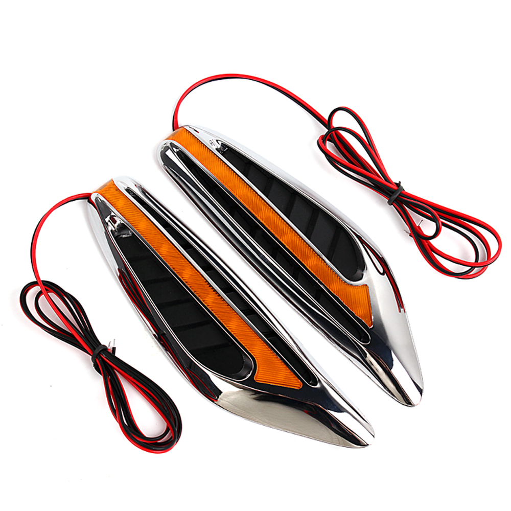 LEEPEE 1 pair 12V 3W 46 LEDs Car Side Turn Signal Lights LED Car Side Lamps Blade Shape Car-styling Auto Accessories