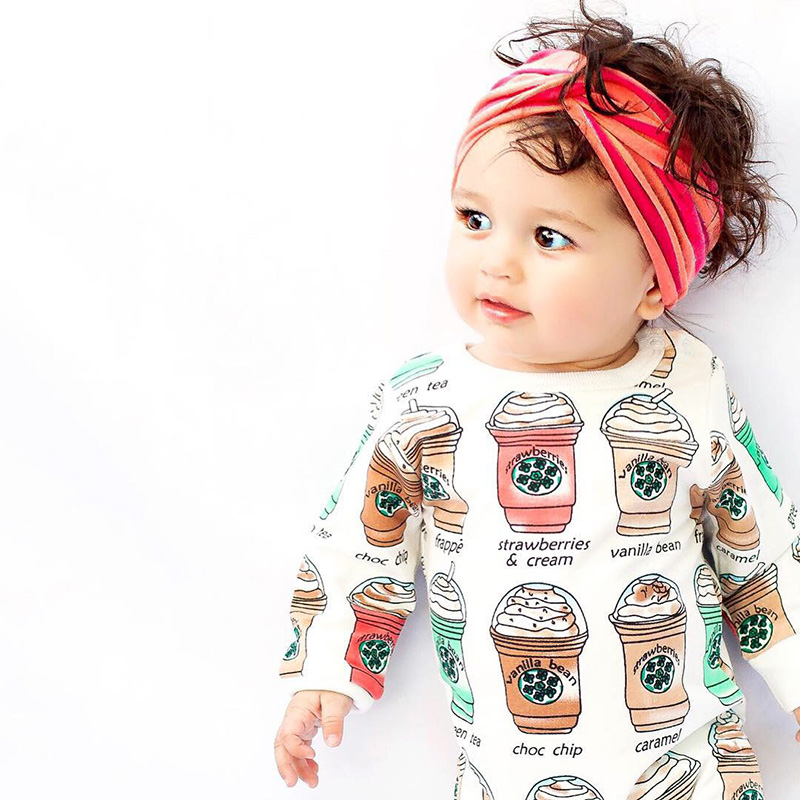 0-24 Month Cute Cotton Infant Baby Rompers Girls Boys Ice Cream Printed Long Sleeve Jumpsuit Clothes mother nest 3sets lot wholesale autumn toddle girl long sleeve baby clothing one piece boys baby pajamas infant clothes rompers