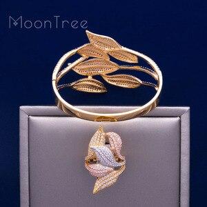 Image 4 - MoonTree Luxury SunFlower 3 Tone Full AAA Cubic Zirconia Wide Bracelet Bangle Ring Set Dress jewelry sets For women