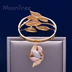 Image 4 - MoonTree Luxury Sunflower 3 โทน AAA Cubic Zirconia กำไลข้อมือกว้างแหวนชุดเครื่องประดับชุดผู้หญิง