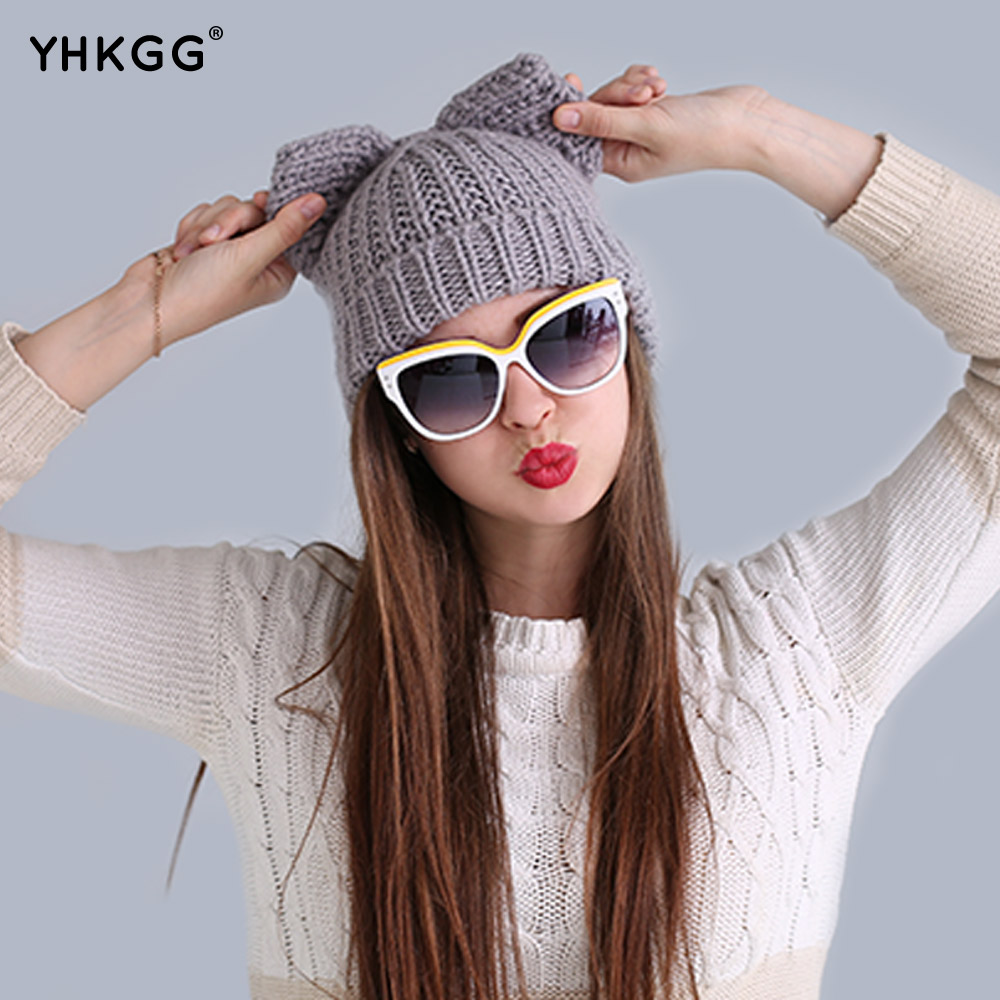 The trend of fashion star in 2017 Ear cap and lovely Naughty wool hat in the latest fashion wool hat ms hat warm hat the new children s cubs hat qiu dong with cartoon animals knitting wool cap and pile
