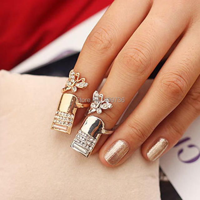 Chic women vintage butterfly tip finger band nail art rings full chic women vintage butterfly tip finger band nail art rings full crystal knuckle ring fashion gold prinsesfo Images