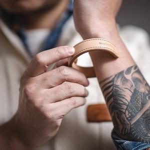 Image 2 - Maden מכתב עור קאף צמידי לגברים מתכוונן בעבודת יד צמיד חאקי צמיד חום הדפסת הודי Thunderbird תכשיטים