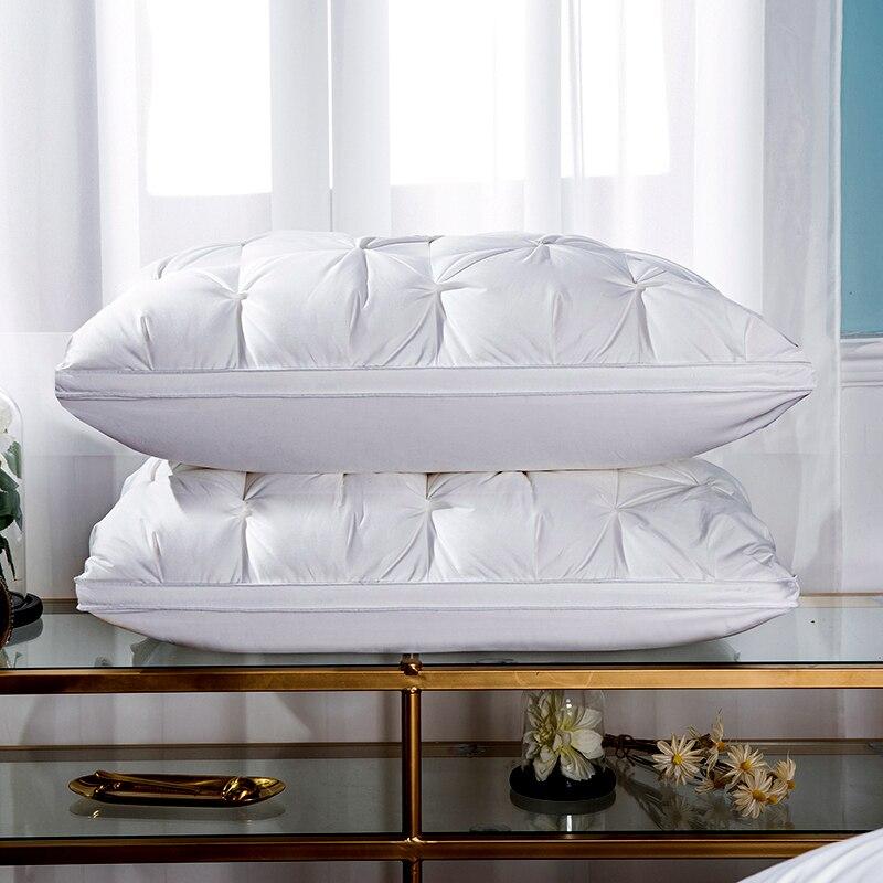 3D Twist flower Cotton Pillow 48 74cm Rectangle White Goose Duck Feather Bedding Pillows Down Proof