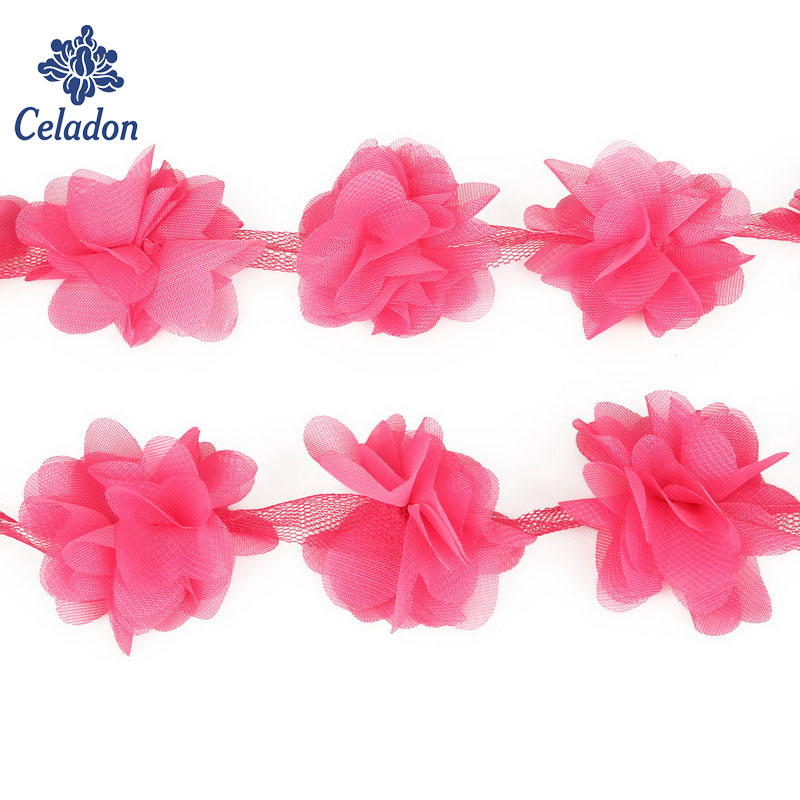 2 Yards Fuchsia 3D Chiffon Cluster Flowers Fringe Lace Trim Lace Ribbon Sewing Organza Fabric For Applique Dress Accessaries
