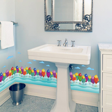 Ice cream Fish Shower Hallway Baseboard Fence Skirting Line Corner Wall Sticker For Kids Rooms Home decoration Decor Wallpaper