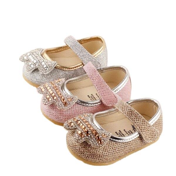 Новое прибытие 2017 девочка обувь дети принцесса алмазные обувь одного ребенка мягкой подошвой toddle обувь сначала ходунки