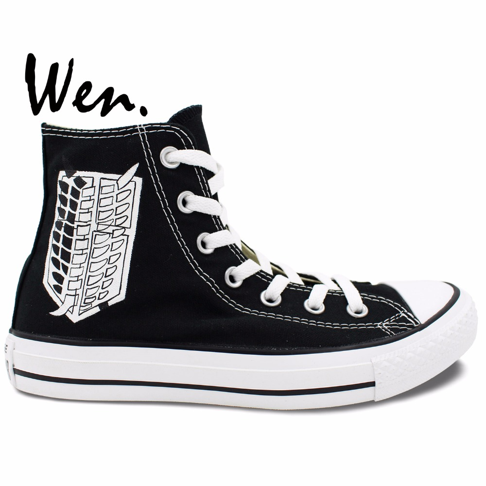 ФОТО Wen Casual Shoes Unisex Hand Painted Shoes Custom Design Attack On Titan Anime Men Women's High Top Canvas Shoes