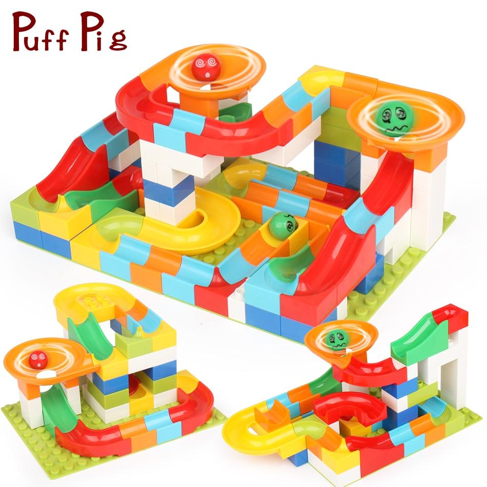 104 112 PCS Marble Race Run Maze Ball Track With Baseplate DIY Building Blocks Compatible Legoed Duploe Train Bricks Kids Toys