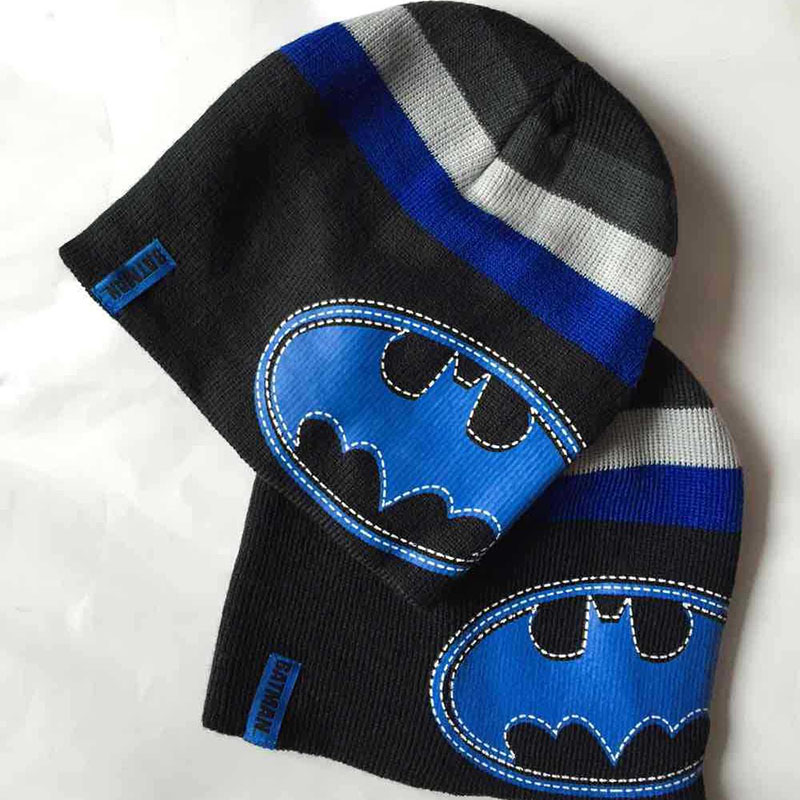 Halloween Christmas Winter Boys Set Hat Cartoon Cap Batman Tricot Knitted Hat Children Beanies Warm Hat Games Hat 11