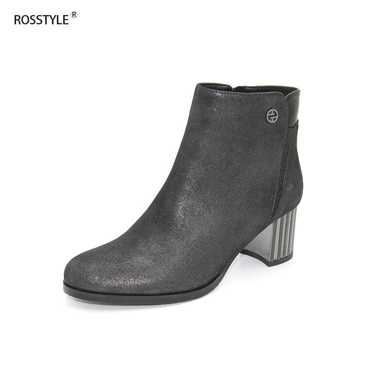 Rosstyle женские ботильоны Блестящий металлический из натуральной кожи обирали обувь Высокие каблуки Лепнина Тип с молнией металлический деко...